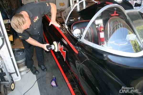Batmobile getting NXT Tech Wax by machine